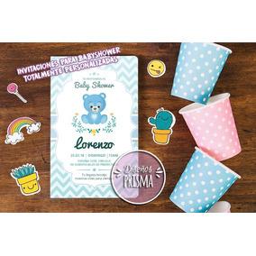 Tarjeta Invitacion Babyshower Varon Oso Imprimible