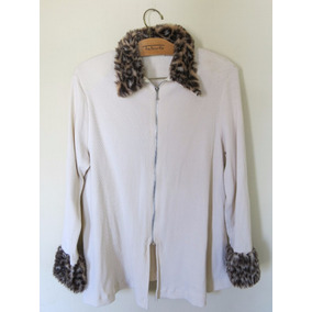 Chaqueta Color Hueso Con Animal Print