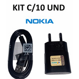 Carregador Nokia Usb Lumia 520 525 530 620 505 510 Kit 10und