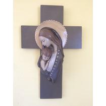 Imagen Religiosa Madonna Con Niño En Cruz