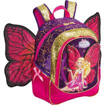 Mochila Escolar Barbie Butterfly Gd 3bolsos Rx Un.