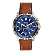Reloj Caballero Fossil Garrett Fs5625 Color Café De Piel