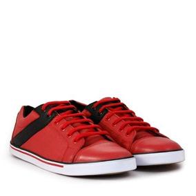 Zapatillas De Cuero Rojo Combinado De Hombre Batistella