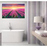 Cuadro Campo De Tulipanes Rosas Sol Paisaje Life Baño 20x30