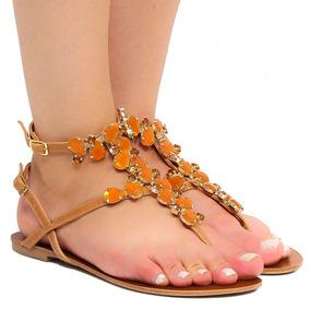 Sandália Rasteira Zariff Shoes Pedras Fivela 48152 | Zariff