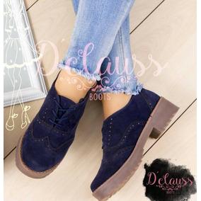 Zapatos Cordon De Vestir Suaves Y Cómodos Mujer Color Azul