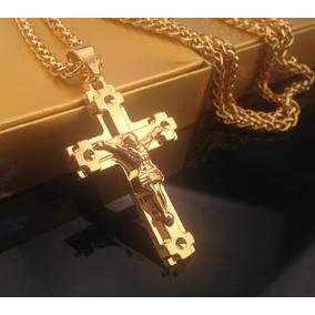 Cordão Banhado A Ouro 18k Com Crucifixo De Jesus Cristo