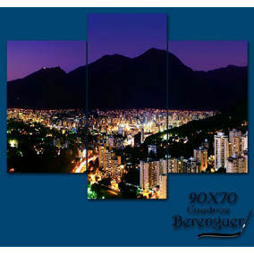 Cuadro Triptico Hambient Long Cerro Avila Nocturno 90x70cm