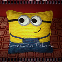 Almohadón Decorativo Tejido Crochet Minnion