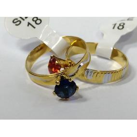 Anel Aliança Dourado Com Prata Pedra De Zirconia 36 Peças