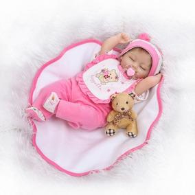Autentica Real Bebé Reborn 43 Cm Silicon Tela Babero Rosa G 5ec42503ccf