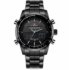 Relógio Masculino Luxo Original Naviforce Quartzo Aço Inox