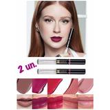 Kit 2 Lip Tint Batom Líquido Eudora - Cores Púrpura E Nude