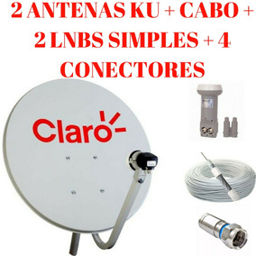 Kit 2 Antenas Ku 60cm + Cabo + 2 Lnbs Simples + 4 Conectores