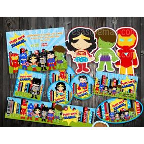Kit Imprimible Súper Heroes Fiesta Infantil Bolo Piñata