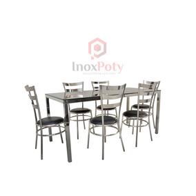 Conjunto De Sala De Jantar Mesa E 6 Cadeiras (inox, 304)
