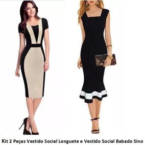 Vestido social vestidos femininos no mercado livre brasil vestido social longuete e vestido social babado kit 2 peas thecheapjerseys Image collections