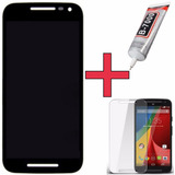 Tela Display Moto G3 Preto + Cola B7000 110ml + Pelicula