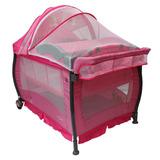 Cuna De Viaje Spots Pink Infanti