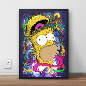 Quadro Simpsons Psicodelico Arte Imagine Homer 42x29 Cm