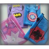 Capa Y Antifaz Fris Superman Batman Cump Infantiles Cotillon