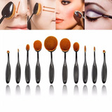 Set 10 Piezas Brochas Ovaladas Maquillaje Make Up Brush