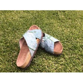 Sandalias Bajas Cuero/telas Bordadas De La India