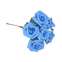 24 Rosas - Flor Artificial Eva Azul Bebê P/ Festa Batizado