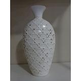 Vaso Decorativo Em Cerâmica Esmalta Branco 39 Cm