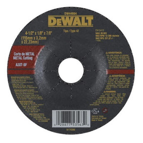 Disco Corte Metal Dewalt - Dw44604 - 4-1/2x1/8 X7/8
