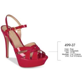 Sandalias De Plataforma Tipo Charol Color Rojo 499-37 Cklass