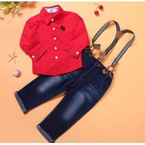 Conjunto Infantil Menino Calça Jeans Camisa Com Suspensorio