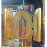 Tríptico Virgen Madera Con Hoja De Oro