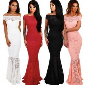 Vestido Rosa Rojo Blanco Negro Encaje Corte Sirena Fiesta
