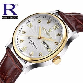 Relógio Masculino De Luxo Social Calendário Dourado Couro