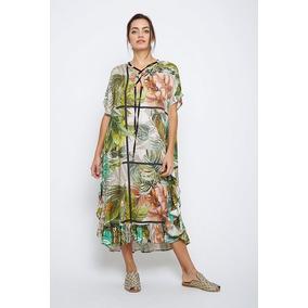 Vestido Basilotta Largo Tropical Estampado