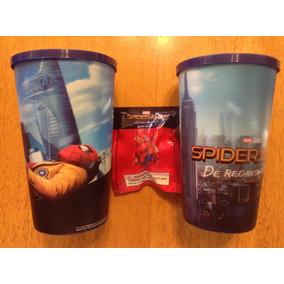Set 2 Vasos Spiderman Hombre Araña Homecoming Y Figura Mini