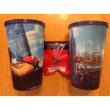 Set 2 Vasos Spiderman Hombre Araña Homecoming Y Figura Mini