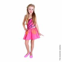 Fantasia Vestido Barbie Butterfly Infantil Pop P / M / G