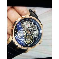 Relógio Roger Dubuis Automático Couro Safira Frete Grátis