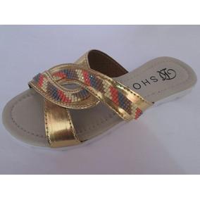 Rasteirinha Dk Shoes Ouro Antiderrapante