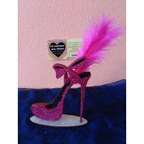 Souvenirs 15 Años Zapato Brillante Con Pluma X10