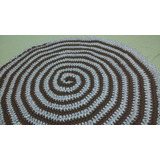 Tapete Crochê Fio De Malha Espiral Marrom E Branco 80 Cm