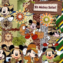 Kit Scrapbook Digital - Mickey Safari- Imagens E Papeis