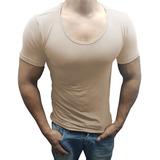 Camisa Slim Gola Canoa Elastano Manga Curta