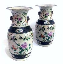 Par De Antigos Vasos De Porcelana Craquelada Chinesa