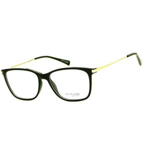 ee7b3e730b6a4 Armação Oculos Grau Atitude At4038 A01 Preto Brilho Dourado