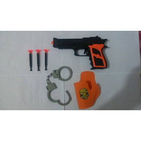 Pistola Glock Brinquedo Infantil Atira Dardos Tamanho Real
