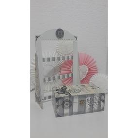Caja Cofre De Madera Decorado Vintage Y Porta Aros En Set