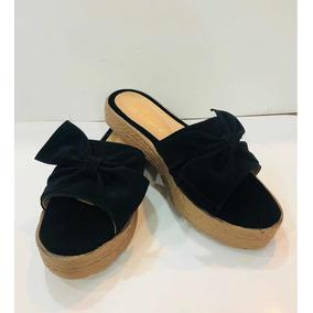 Sandalias Negras Con Moño Cómodas Moda Dama Huarache Bajas